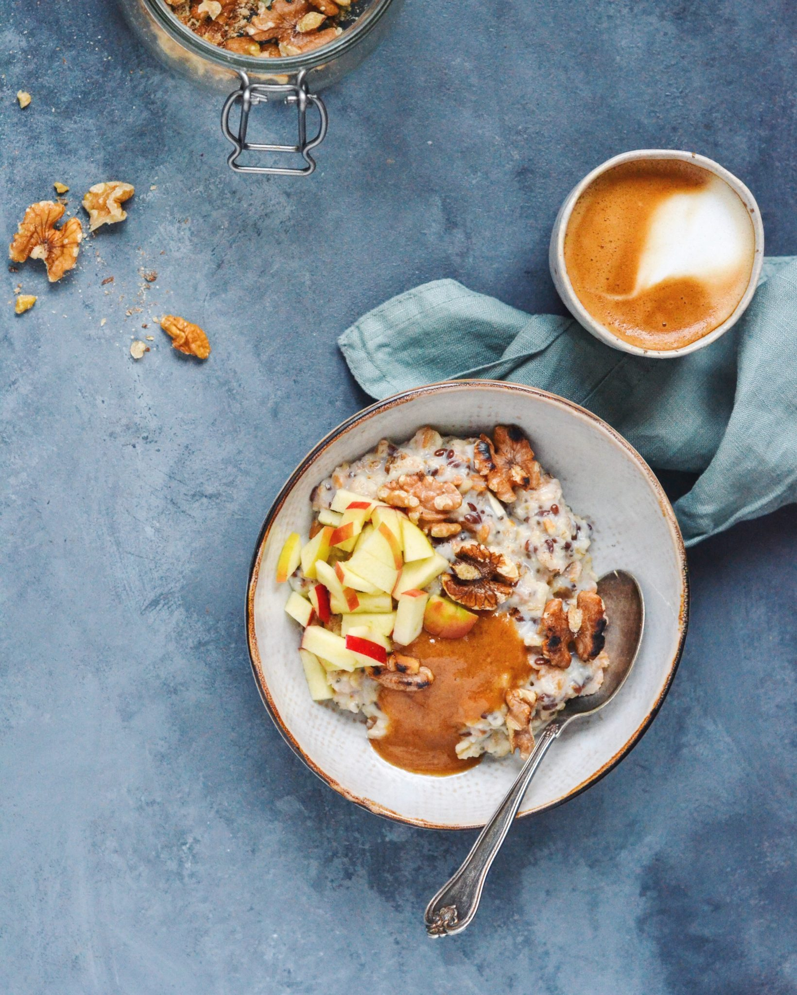 Havre-spelt grød med karamel, æble og valnødder 10 favoritter // efterårsgrød