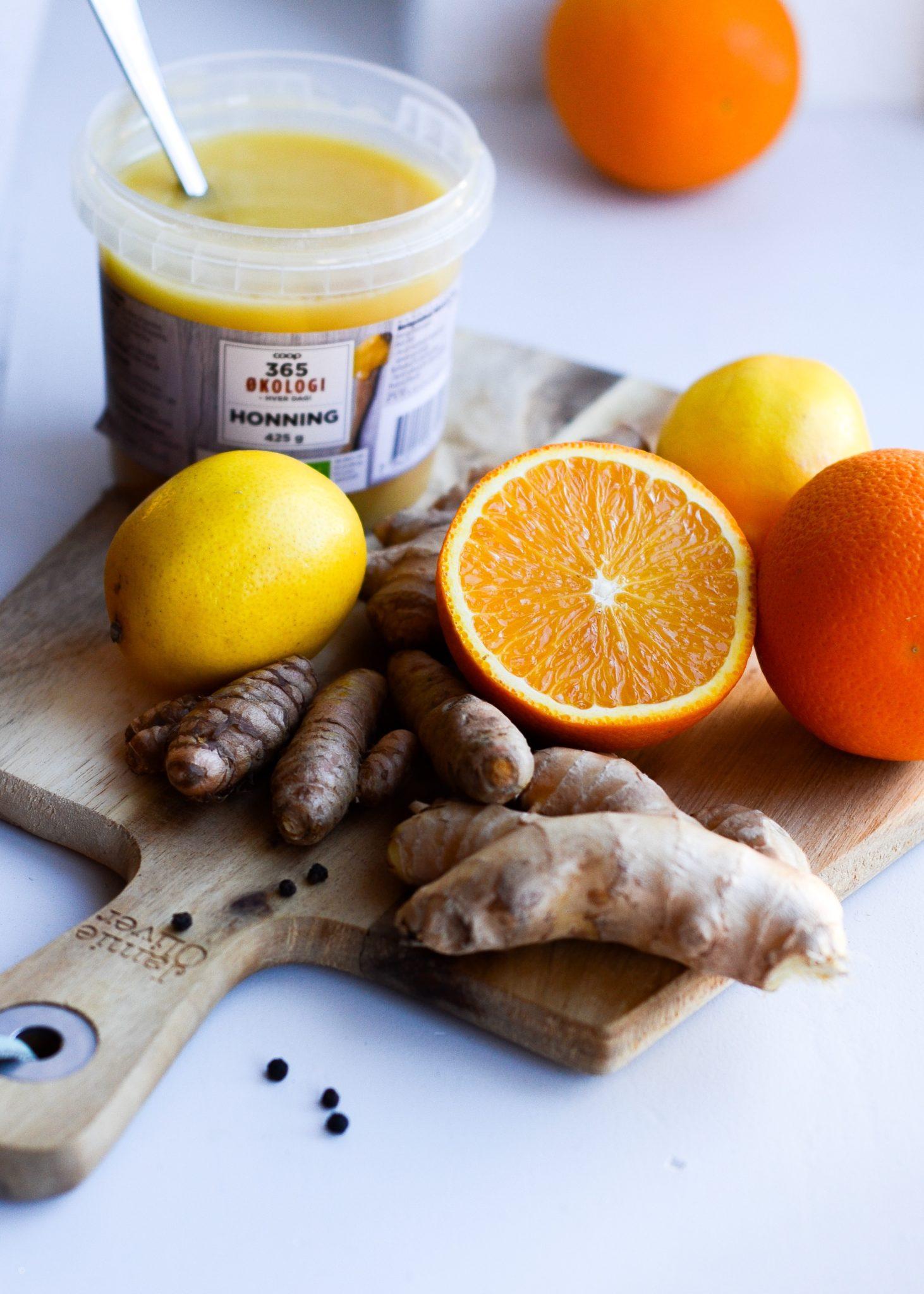 ingefærshots med appelsin, gurkemeje og citron